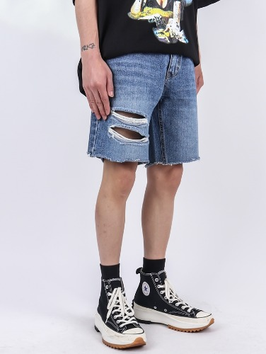 PM 63 Double Damage Denim Shorts Pants (2color)