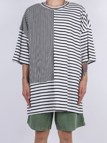 SN Horizontal And Vertical Stripe Short Sleeve Tee (3color)