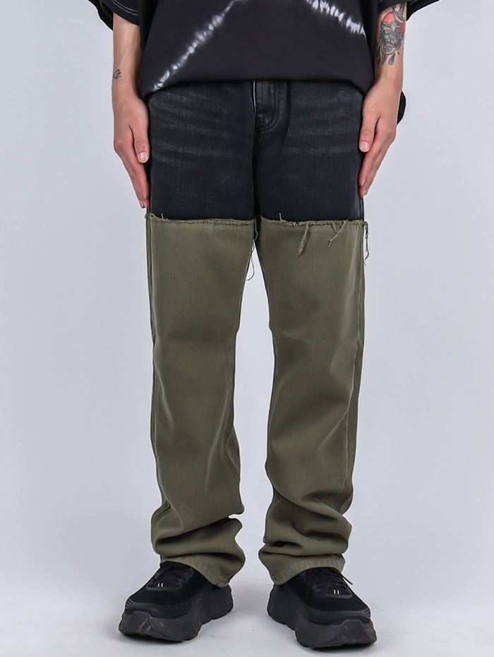 DR 61 Color Khaki Black Jeans