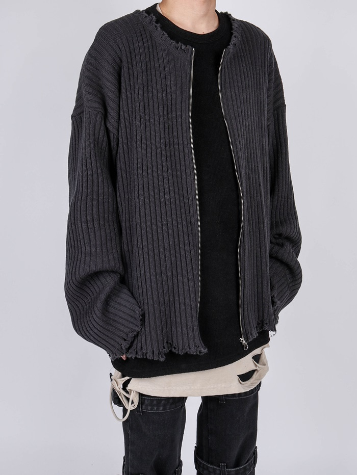 OS Zip-up Damage Knit (2color)