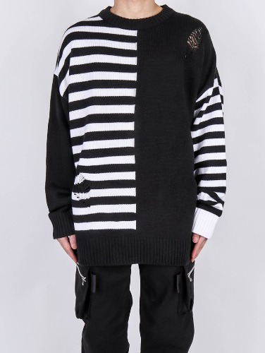 SY Unbalanced Striped Damage Knit
