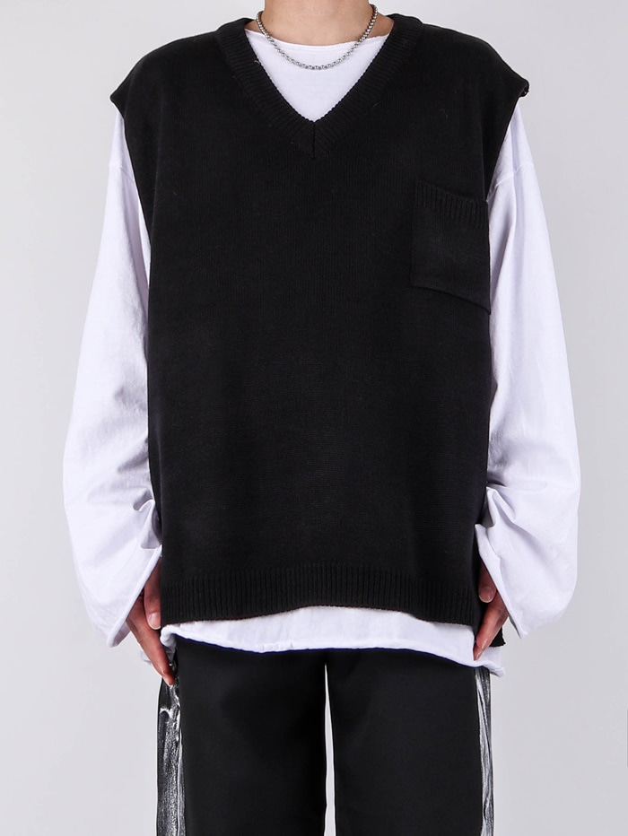 MG Cut Knit Vest (2color)