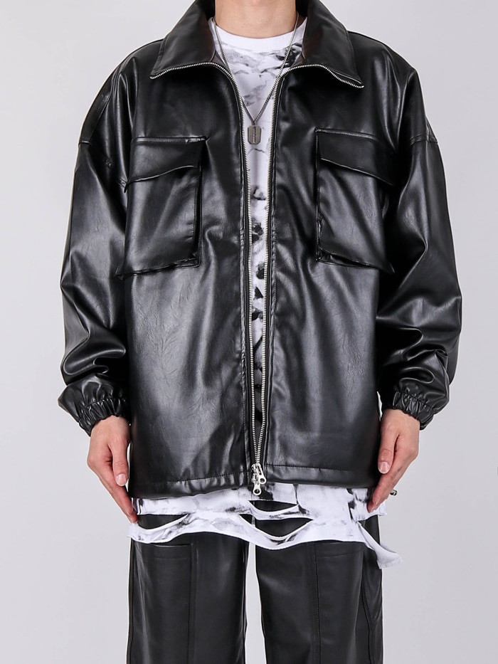 MP Two Pocket Leather Jacket (2color)