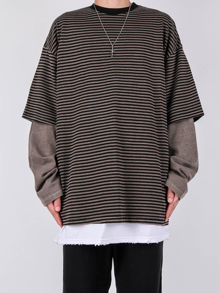 VT Pigment Layered Stripe Long Sleeve Tee (3color)