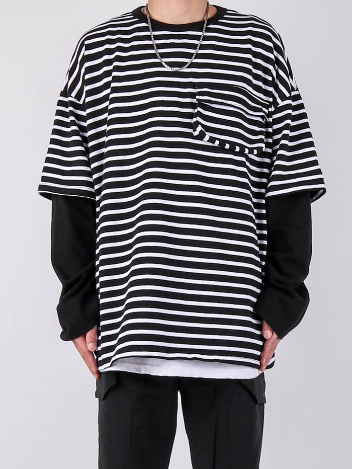 DV Stripe Layered Pocket Long Sleeve Tee (2color)