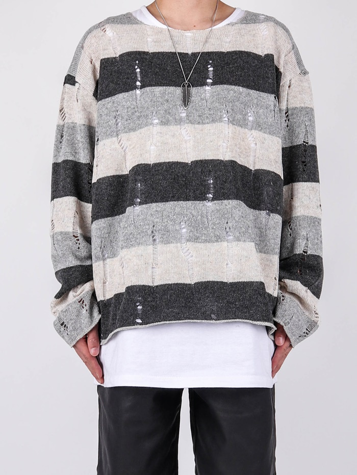 RG Damage Stripe Knit (2color)
