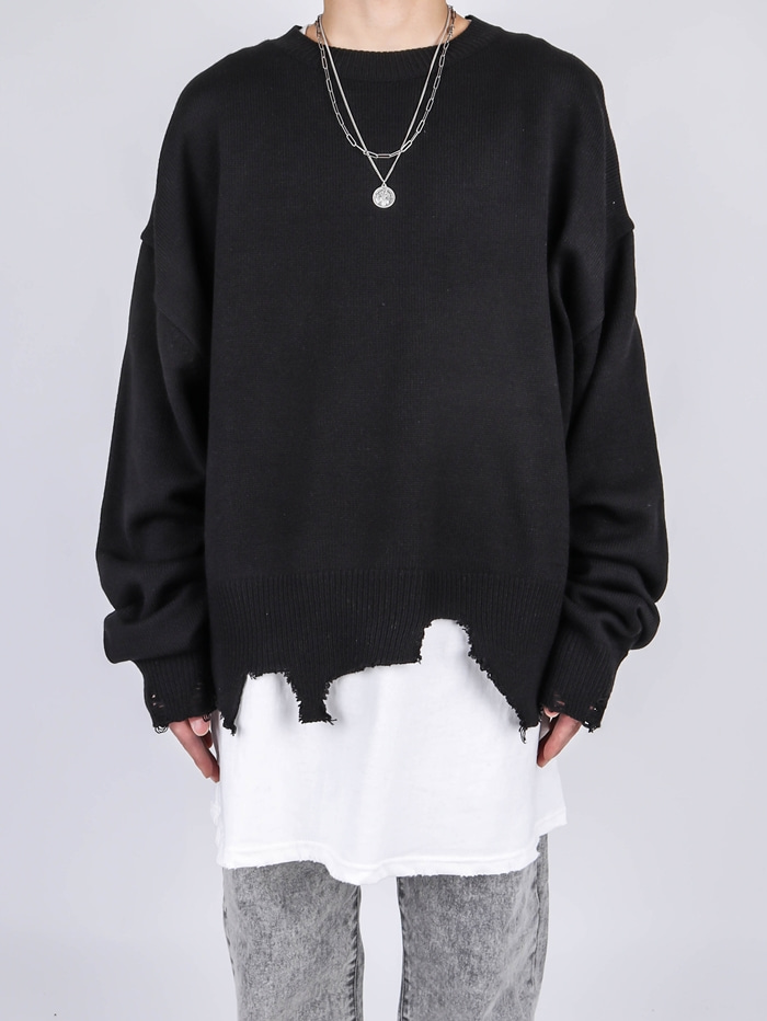 NW Damage Crop Knit (3color)